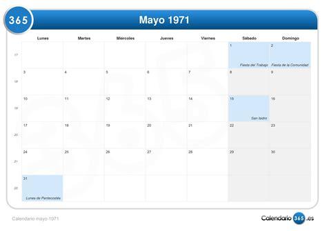 Calendario De 1971 Calendario Mayo 1971