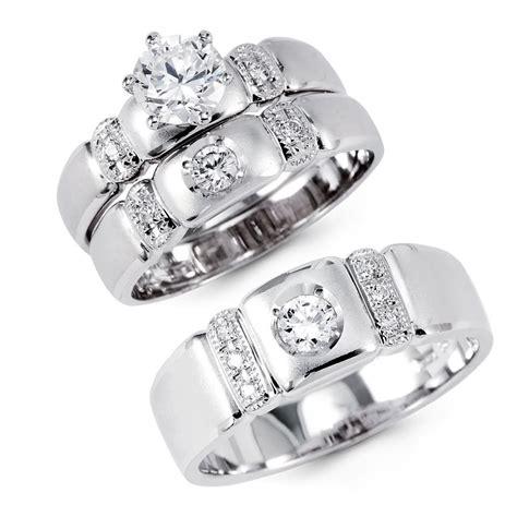 14k solid white gold cz engagement wedding 3 ring set 14k