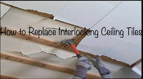 how to replace repair install interlocking ceiling tiles