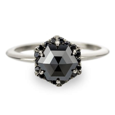 unique black engagement ring hexagon