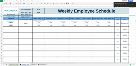 Free Work Schedule Templates For Google Spreadsheets Tanda Employee Schedule Spreadsheet Template
