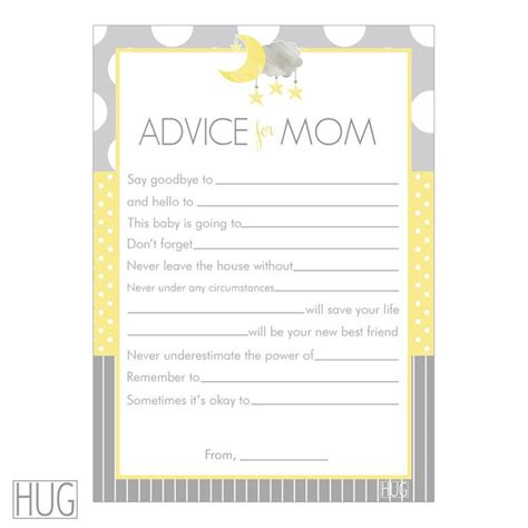 baby shower advice cards digital printable advice for cards moon and yellow and gray for gender neutral baby