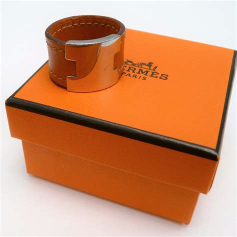 Clinique Pouch Orange Silver With Box hermes ring quot h quot orange leather and silver tone w pouch