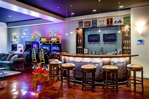 home sports bar design family room contemporary with bar