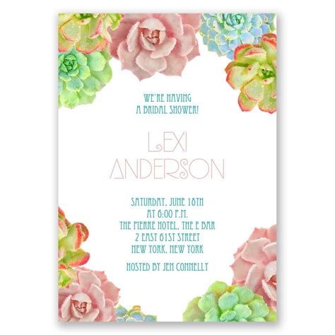Shower Invitations by Brilliant Succulents Wedding Shower Invitation