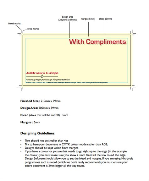 compliment slip template sle compliment slip template 7 free documents