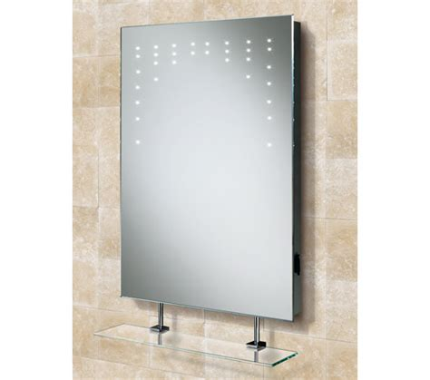 Bathroom Mirrors Qs Hib Led Bathroom Mirror With Glass Shelf And Shaver
