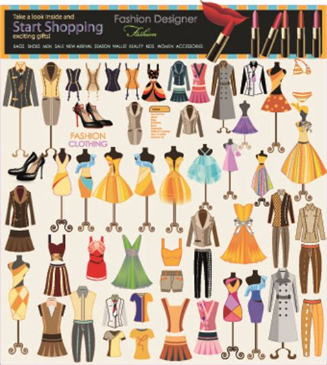 design elements in fashion fashion elements and clothing vector free vector in