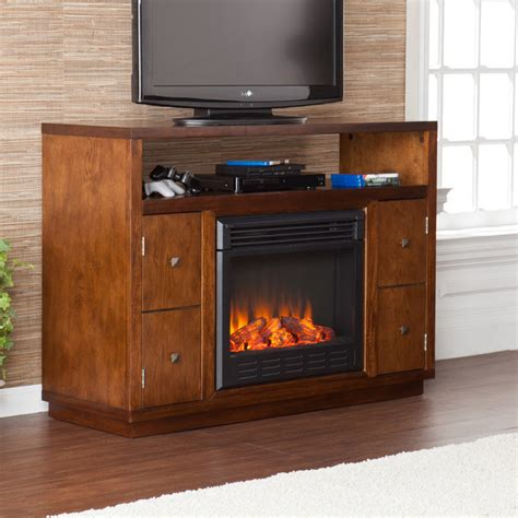 electric fireplace media stands upton home hepburn brown media console stand electric