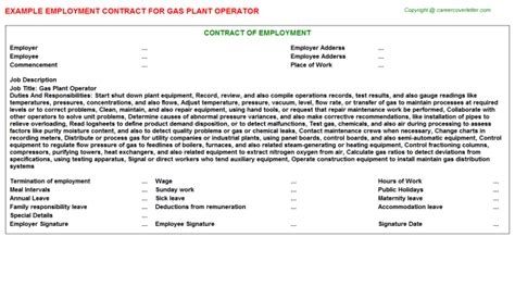Gas Plant Operator Sle Resume by Gas Plant Operator Title