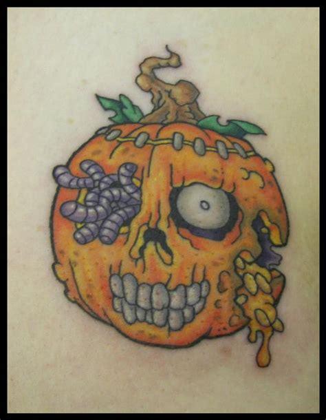 new school pumpkin tattoo zombie pumpkin by james rowe tattoonow