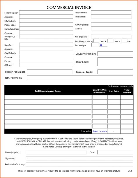Commercial Invoice Pdf Fillable Invoice Template Ideas Invoice Template Pdf Fillable