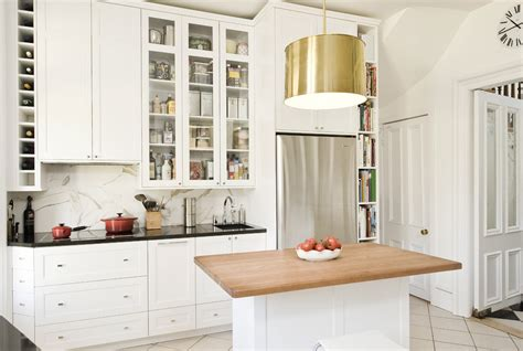 Elegant tall narrow bookcase in Kitchen Traditional with