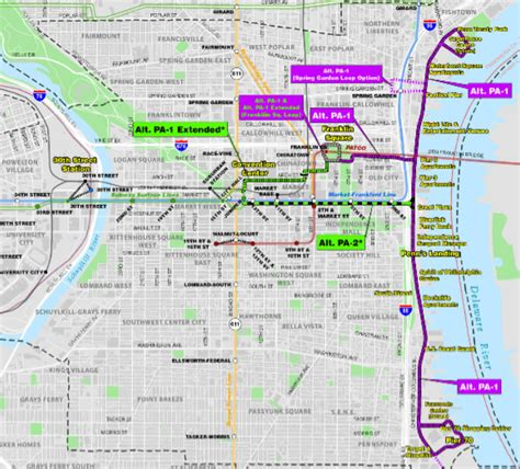 philadelphia subway map new philadelphia light rail project would extend rail to waterfront 171 the transport politic