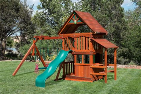 wooden swing sets with playhouse children s outdoor swing sets at discounted
