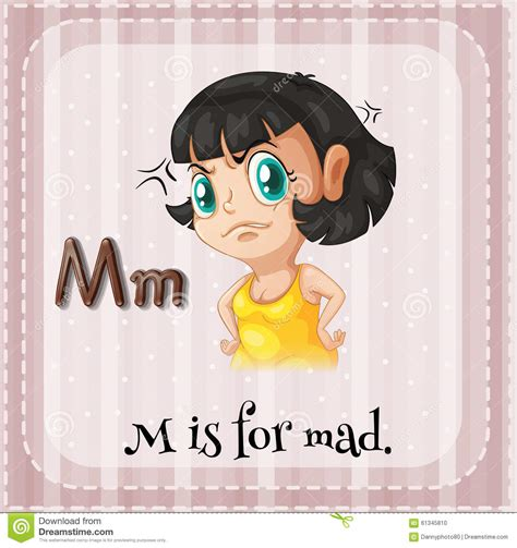 7 Letter Word For Upset Or Angry Flashcard Letter M Is For Mad Stock Illustration Image