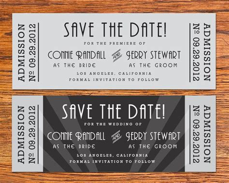 diy old hollywood movie ticket save the date card save