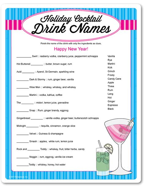 cocktail drinks names printable cocktail drink names funsational com