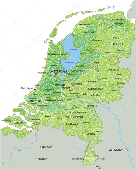 physical map of netherlands netherlands physical map with labeling stock vector