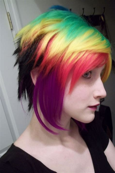 colorful short haircut rainbow hair do or dye pinterest