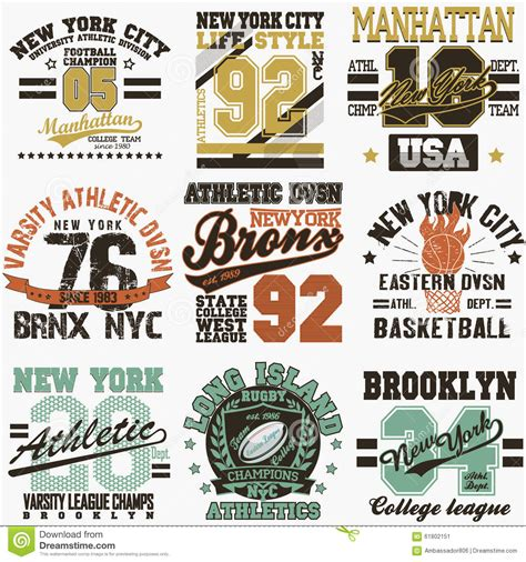 typography nyc new york t shirt set stock vector image 61802151