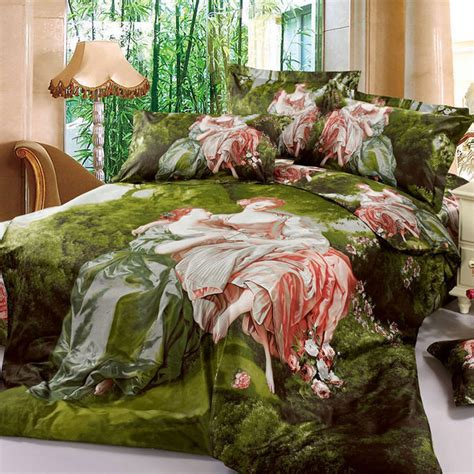 forest bedding european style 3d oil painting noblewoman and princess green forest bedding sets 100