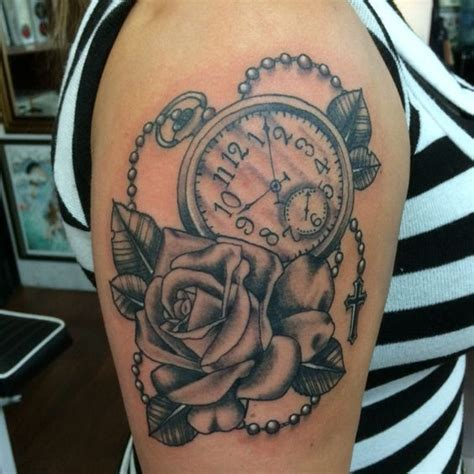 traditional pocket watch tattoo black n grey and pocketwatch american