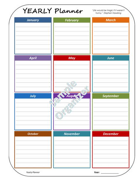 printable year at a glance planner yearly planner monthly calendar year at a glance