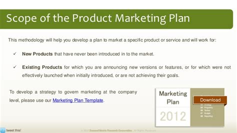 product marketing template product marketing plan methodology tool kit