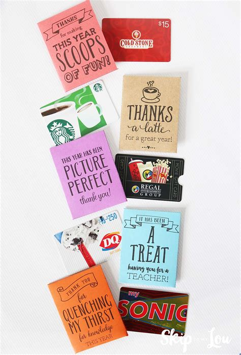 Gift Card Holder Ideas For Teachers - end of the year teacher gifts skip to my lou