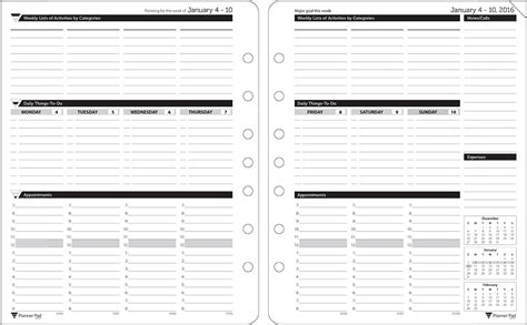 printable planner pad pages planner pads loose leaf organizer black ink style