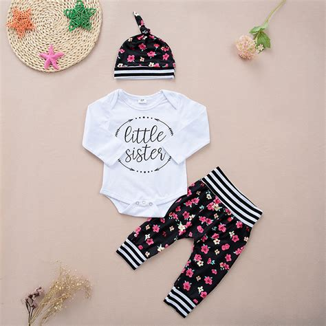 Baby Victory Printed victory check out my new 3 pretty letter print bodysuit floral and hat set for