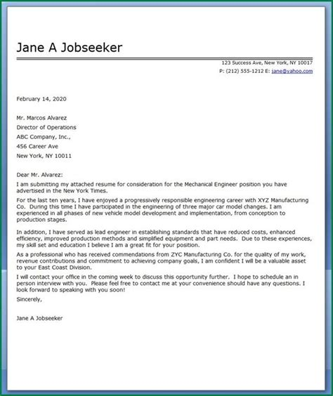 engineering student cover letter 11 mechanical engineering student cover letter