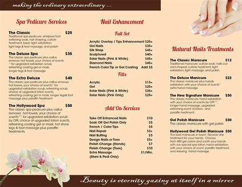 Hair Nail Spa Printing Pedicure Menu Template