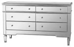 Bedroom Without Dresser Nicolette Bedroom 6 Drawer Dresser Mirrored Finish Fra2011 Without Mirror Contemporary
