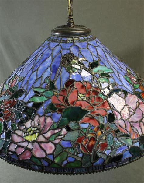 Stained Glass Ceiling Light Fixtures Signed Quot Somers Quot Hanging Stained Glass Ceiling Light Fixture Shade Ebay