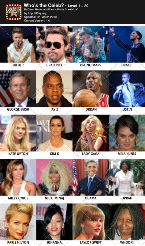what is the celebrity game who s the celeb answers and cheats quiz games answers