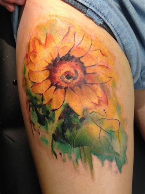 watercolor sunflower tattoo creativefan