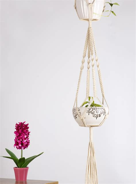 Hanging Rope Planter by Mkono Macrame Plant Hanger Hanging Planter Cotton
