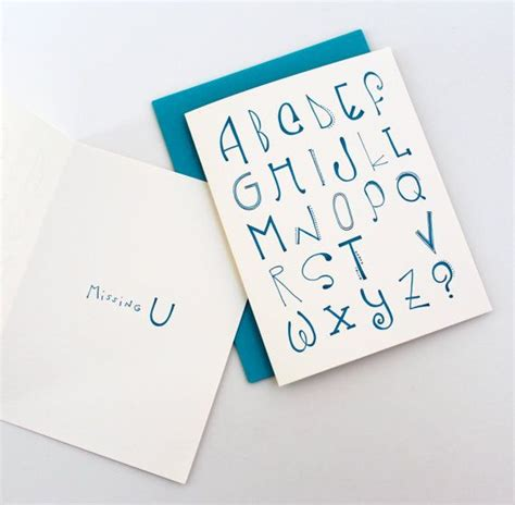 missing u card i miss you card typographic handmade