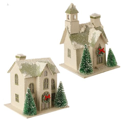 raz snowy putz house christmas ornaments set of 2