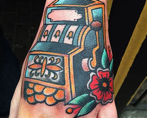 slot machine tattoo creative on fingers