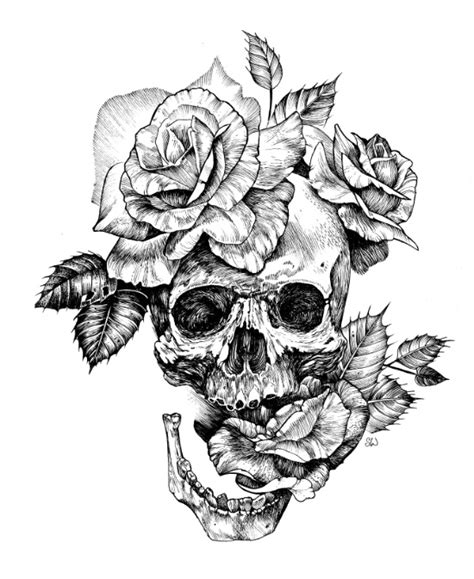 tattoo pen rose black and white skull with roses pen drawing by sarachnid