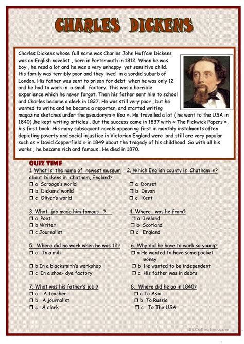 charles dickens biography middle school charles dickens worksheet free esl printable worksheets