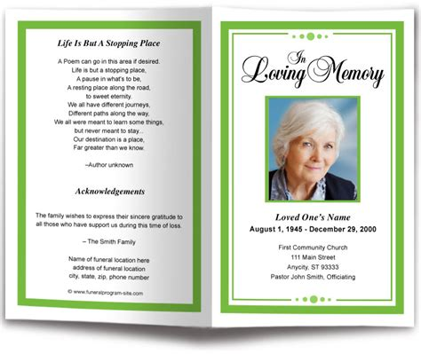 funeral handouts template 23 funeral handouts template 6 best images of free