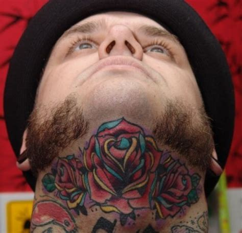 multiple rose tattoos multi colored roses on neck by seizure crossed