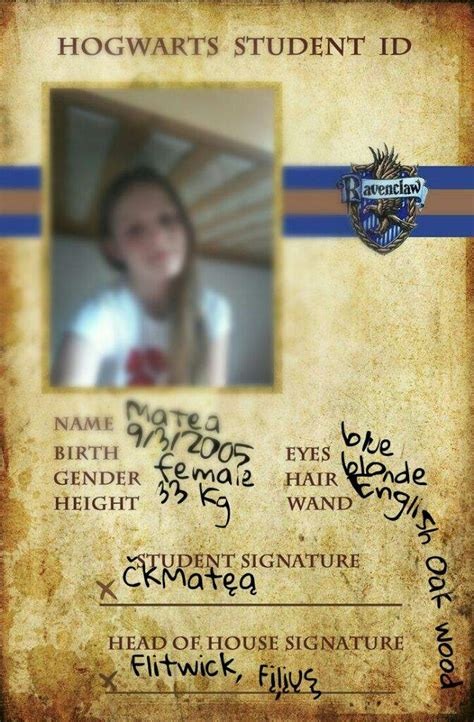 harry potter id card template my hogwarts student id card and some pics harry potter amino