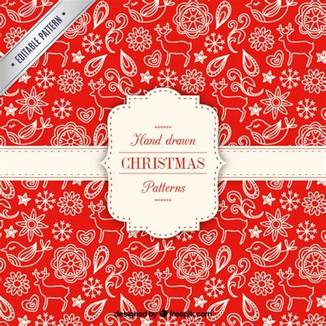 christmas pattern ai hand drawn red christmas pattern vector free download