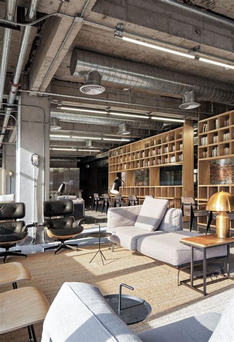 industrial ceiling industrial office features exposed bricks concrete ceilings