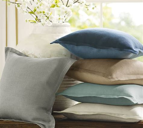 Pottery Barn Linen Pillow Covers by Tonal Linen Flange Pillow Cover Pottery Barn